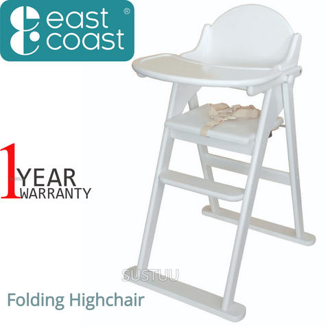 East Coast Folding Highchair | Kids Chair With Safety Harness,Tray+Footrest | White Thumbnail 1