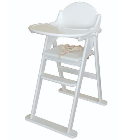 East Coast Folding Highchair | Kids Chair With Safety Harness,Tray+Footrest | White Thumbnail 2