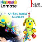 Lamaze Pupsqueak | Clip On Pram/Pushchair/Cot | Baby/Kids Fun Activity Toy + Teether | +0 Months