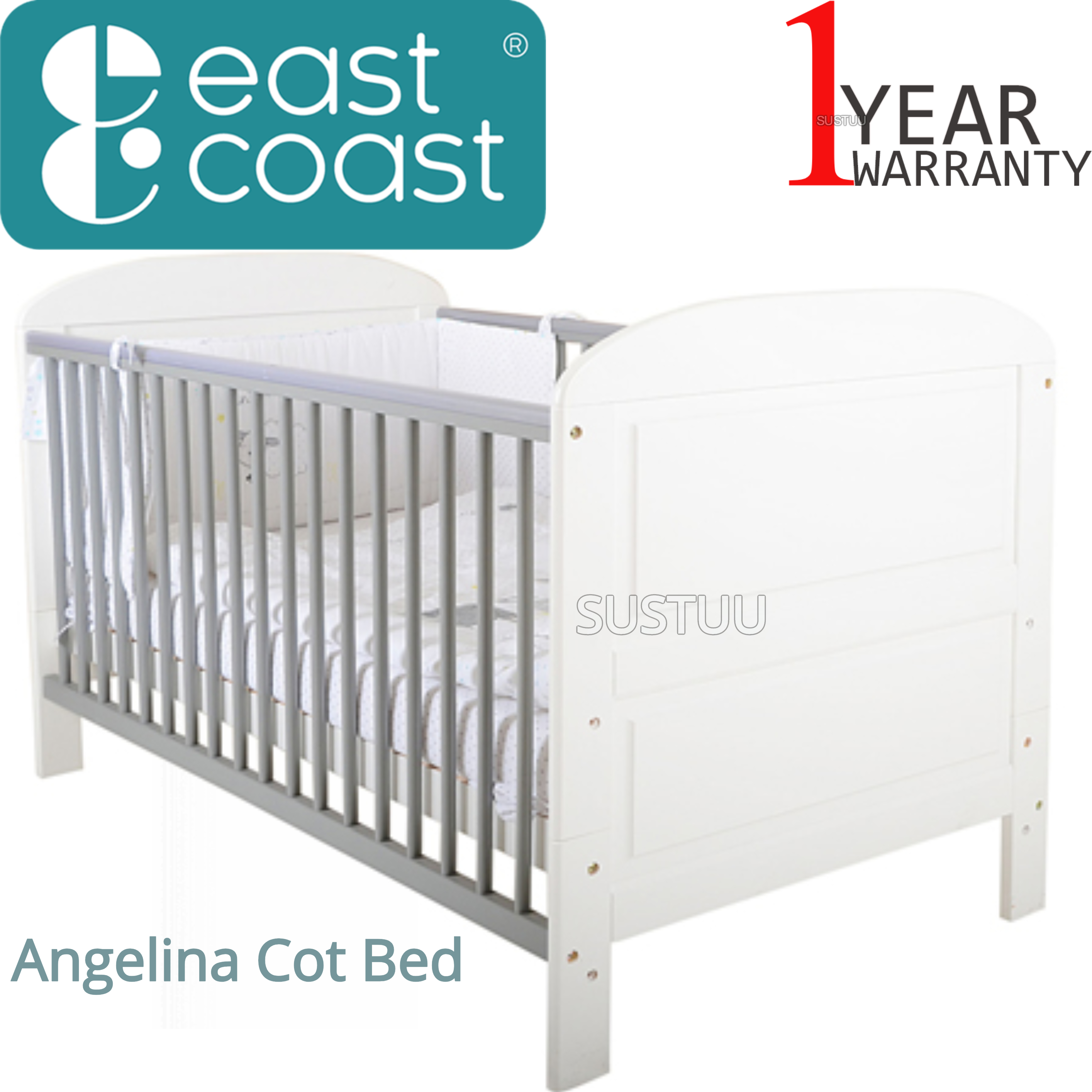 East Coast Angelina Cot Bed | Baby/Kids Cot With 2 Protective Teething Rails | White