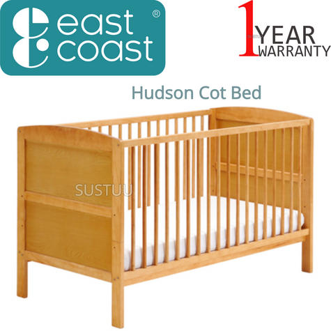 East Coast Hudson Cot Bed | Baby/Kids Convertible Bed With 3 Base Position | Antique Thumbnail 1
