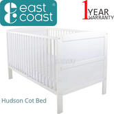 East Coast Hudson Cot Bed | Baby/Kids Convertible Bed With 3 Base Position | White