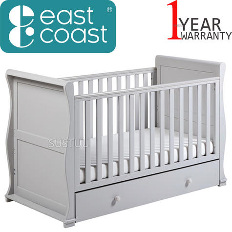 East Coast Nursery Alaska Sleigh Cot Bed With Drawer+ProtectiveTeething Rail | Grey Thumbnail 1