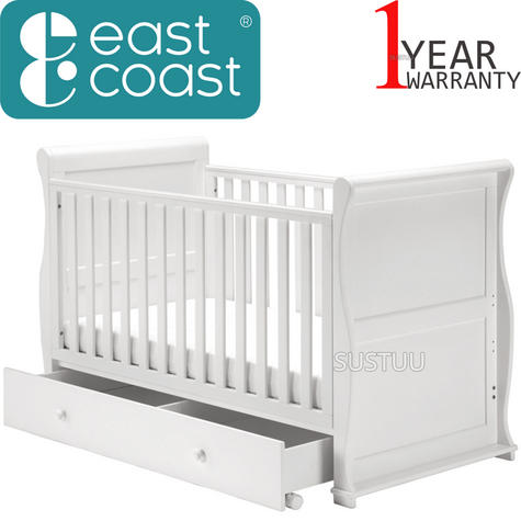 East Coast Nursery Alaska Sleigh Cot Bed | With Drawer+Protective Teething Rails | White Thumbnail 1