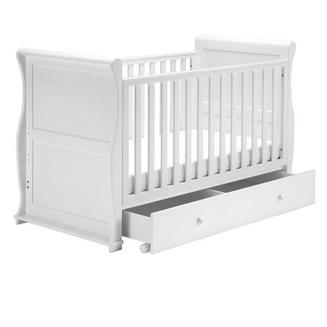 East Coast Nursery Alaska Sleigh Cot Bed | With Drawer+Protective Teething Rails | White Thumbnail 2
