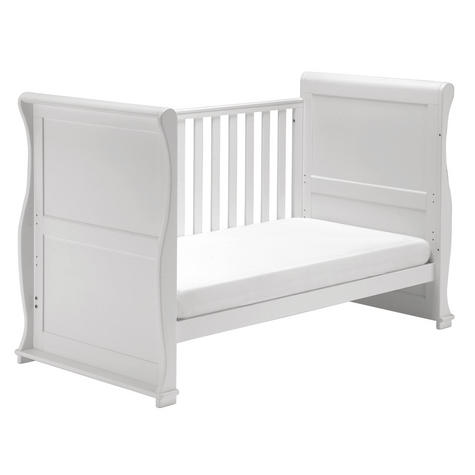 East Coast Nursery Alaska Sleigh Cot Bed | With Drawer+Protective Teething Rails | White Thumbnail 3