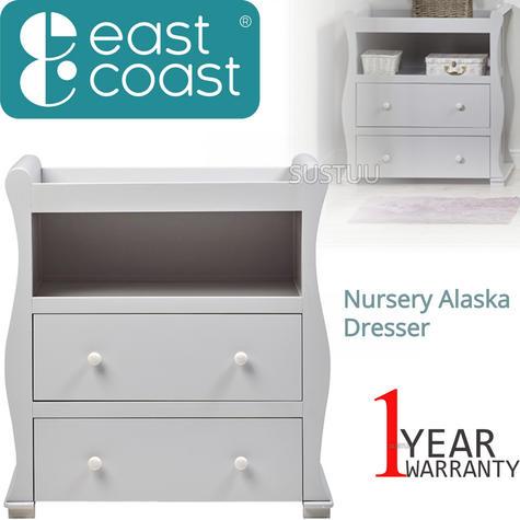 East Coast Nursery Alaska Dresser | Sleigh Shape+2 Storage Drawers+Open Area | Grey Thumbnail 1