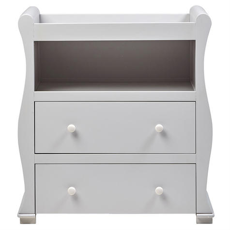 East Coast Nursery Alaska Dresser | Sleigh Shape+2 Storage Drawers+Open Area | Grey Thumbnail 2