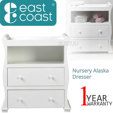 East Coast Nursery Alaska Dresser | Sleigh Shape+2 Storage Drawers+Open Area | Grey Thumbnail 1