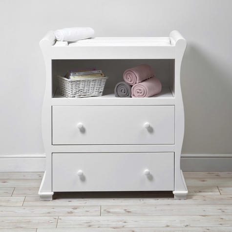 East Coast Nursery Alaska Dresser | Sleigh Shape+2 Storage Drawers+Open Area | Grey Thumbnail 3