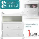 East Coast Nursery Alaska Dresser | Sleigh Shape+2 Storage Drawers+Open Area | Grey