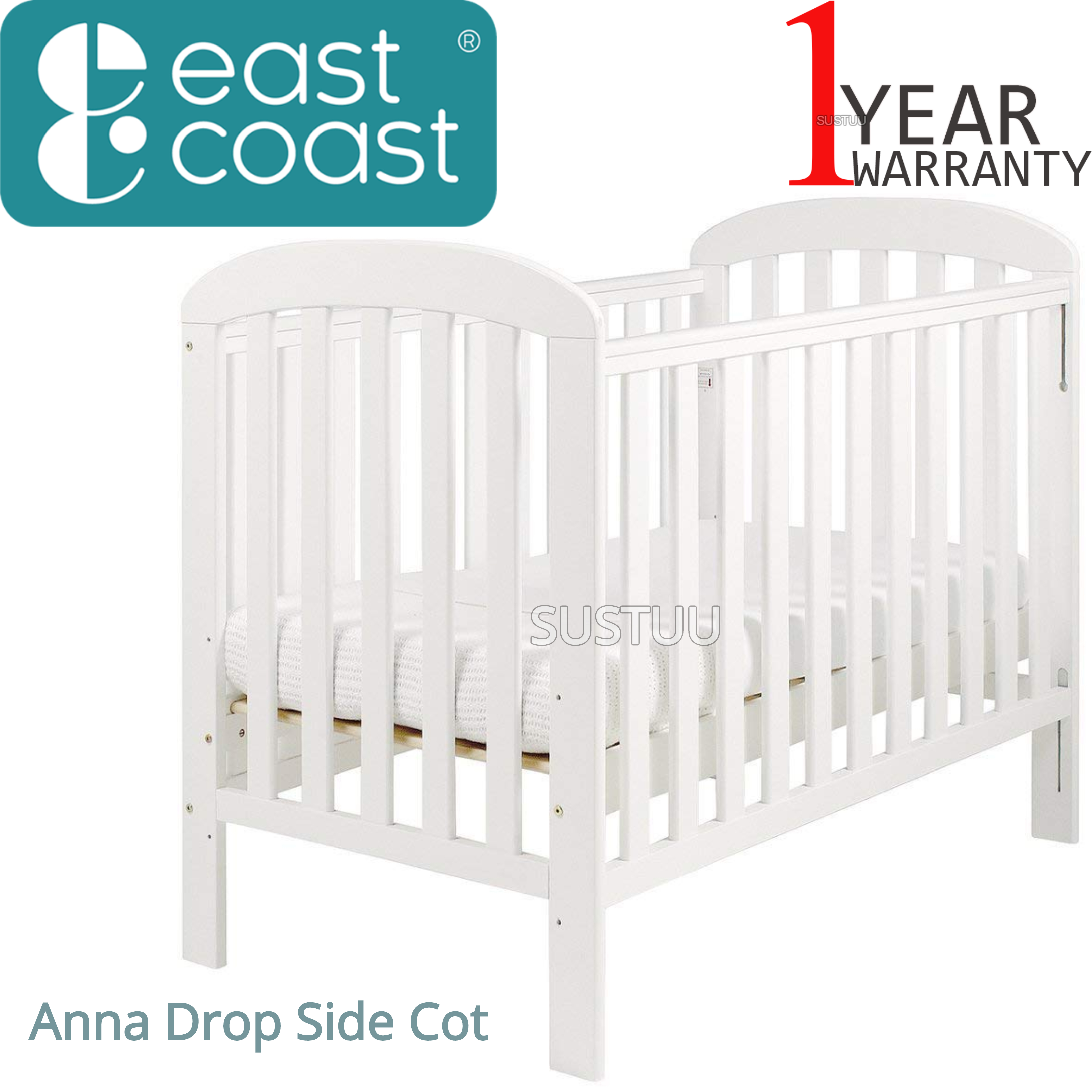 East Coast Anna Drop Side Cot | 3 Base Heights + 2 Protective Teething Rails | White