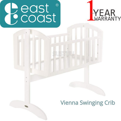 East Coast Vienna Swinging Crib | Gently Rock Baby To Sleep | Safe+Easy To Use | White Thumbnail 1