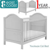 East Coast Toulouse Cot Bed | Convert In To Toddler Bed | 2 Protective Teething Rail