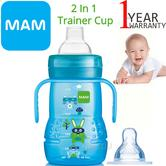 MAM 2 in 1 Trainer Cup | Non Slip Easy Hold Handles | Silk Teat & Spout | 220ml | Blue