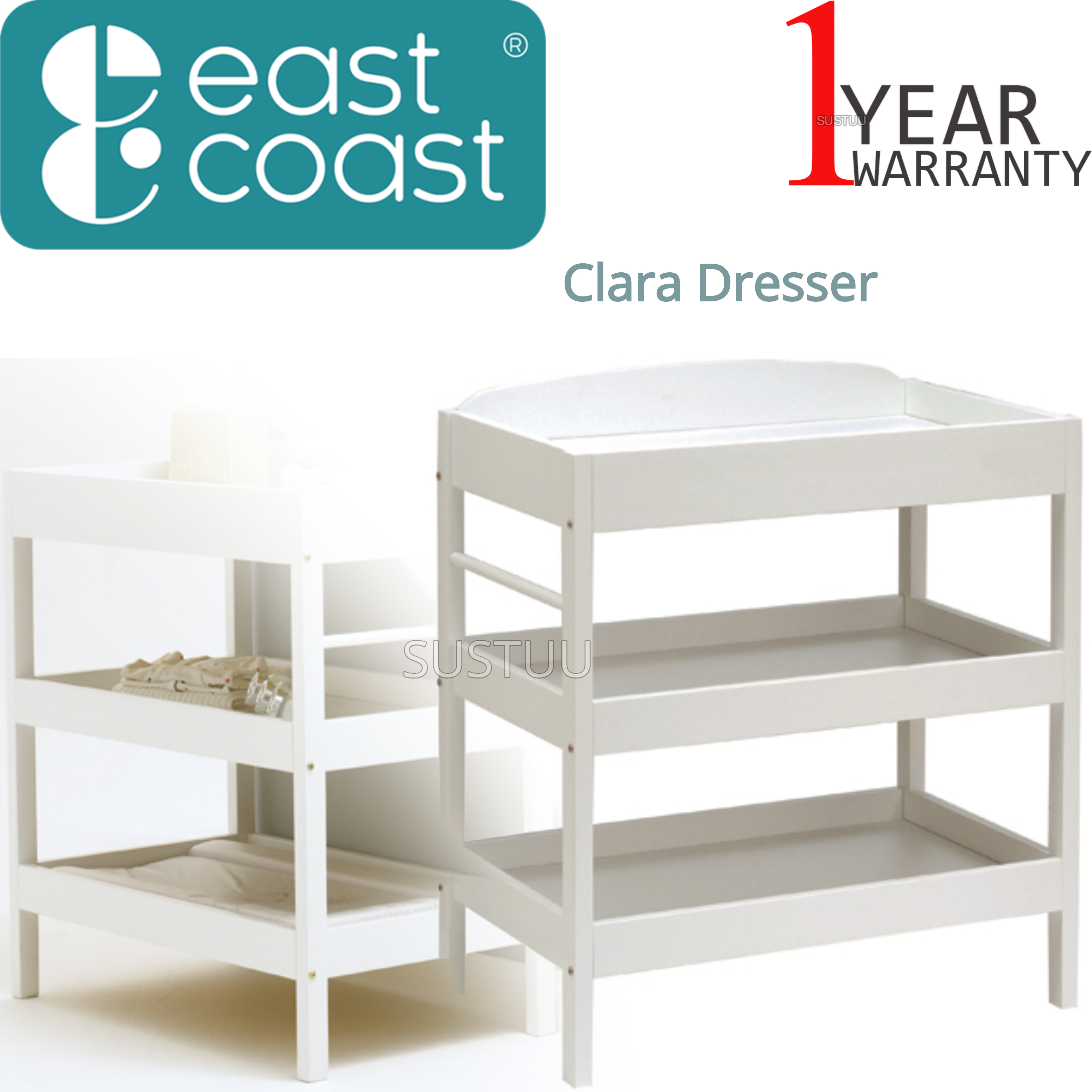 East Coast Clara Dresser | Child/Baby/Kids Storage Shalves/ Table & Towel Rail | White