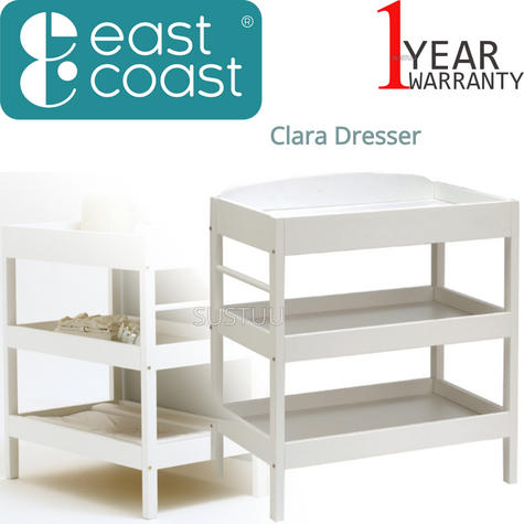 East Coast Clara Dresser | Child/Baby/Kids Storage Shalves/ Table & Towel Rail | White Thumbnail 1