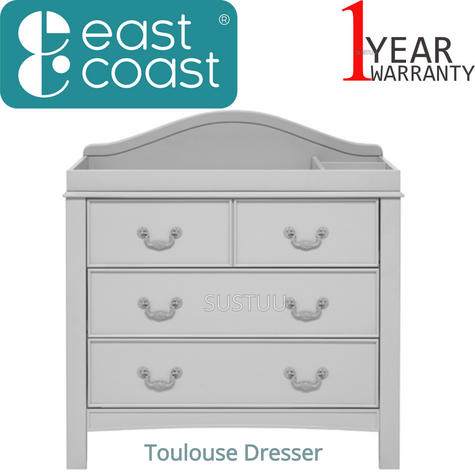 East Coast Toulouse Dresser | Baby/Kids Storage Shelves/Drawers | 2 External Rails Thumbnail 1
