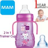 MAM 2 in 1 Trainer Cup | Non Slip Easy Hold Handles | Silk Teat & Spout | 220ml | Pink