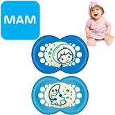 MAM Night Soother | Glows In The Dark | Use Box As Steriliser &Travel Case | Blue | +12Months
