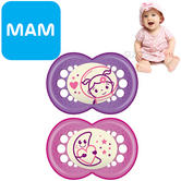 MAM Night Soother | Glows In The Dark | Use Box As Steriliser&Travel Case | Pink | +12Months