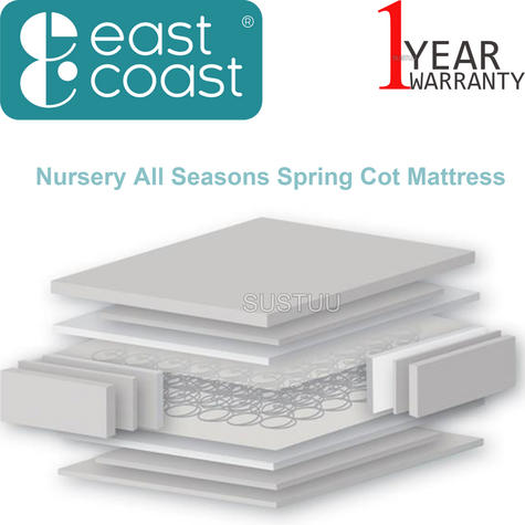 East Coast Nursery All Seasons Spring Cot Mattress | Safe, Soft & Comfortable | New Thumbnail 1