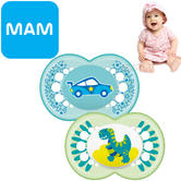 MAM Style Soother | Comfortable | Use Box As Steriliser & Travel Case | +12m | Blue | 2Pk