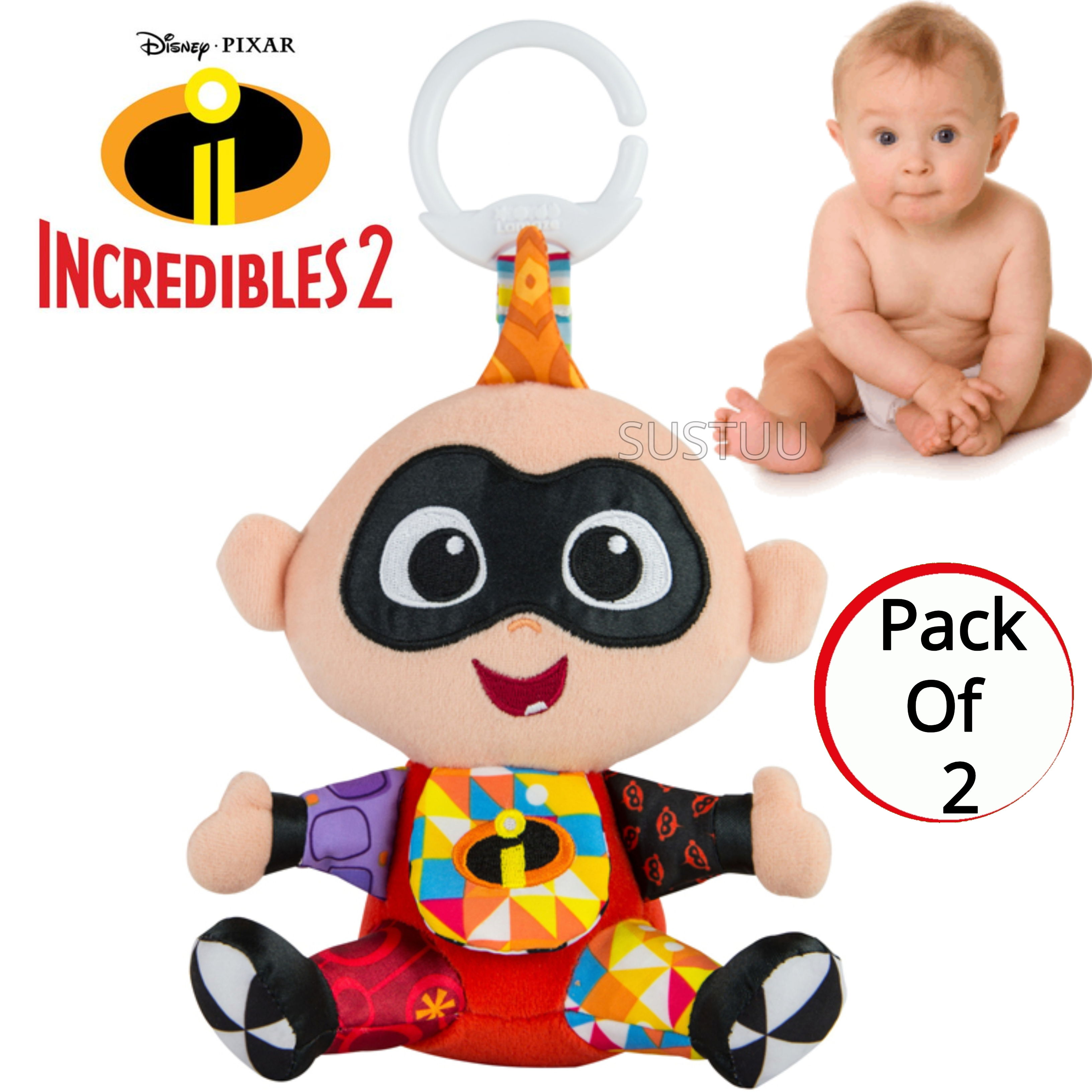 Lamaze Disney Incredibles 2 Clip & Go Jack | Attach To Pram/ Pushchair | With Sound | +0 Months