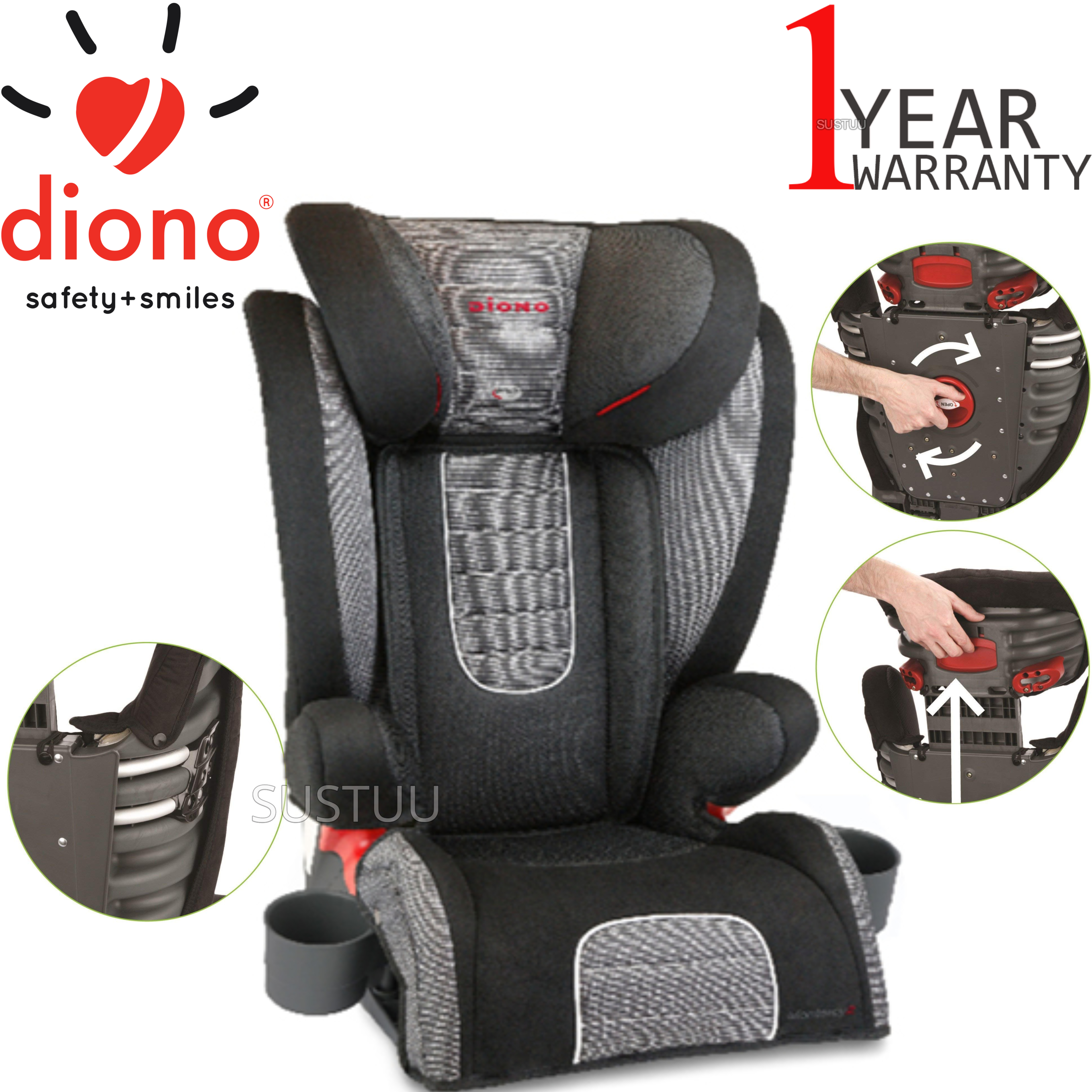 Diono Monterey 2 Group 2/3 Highback Booster Car Seat?Max Weight 15 To 36Kg | Shadow