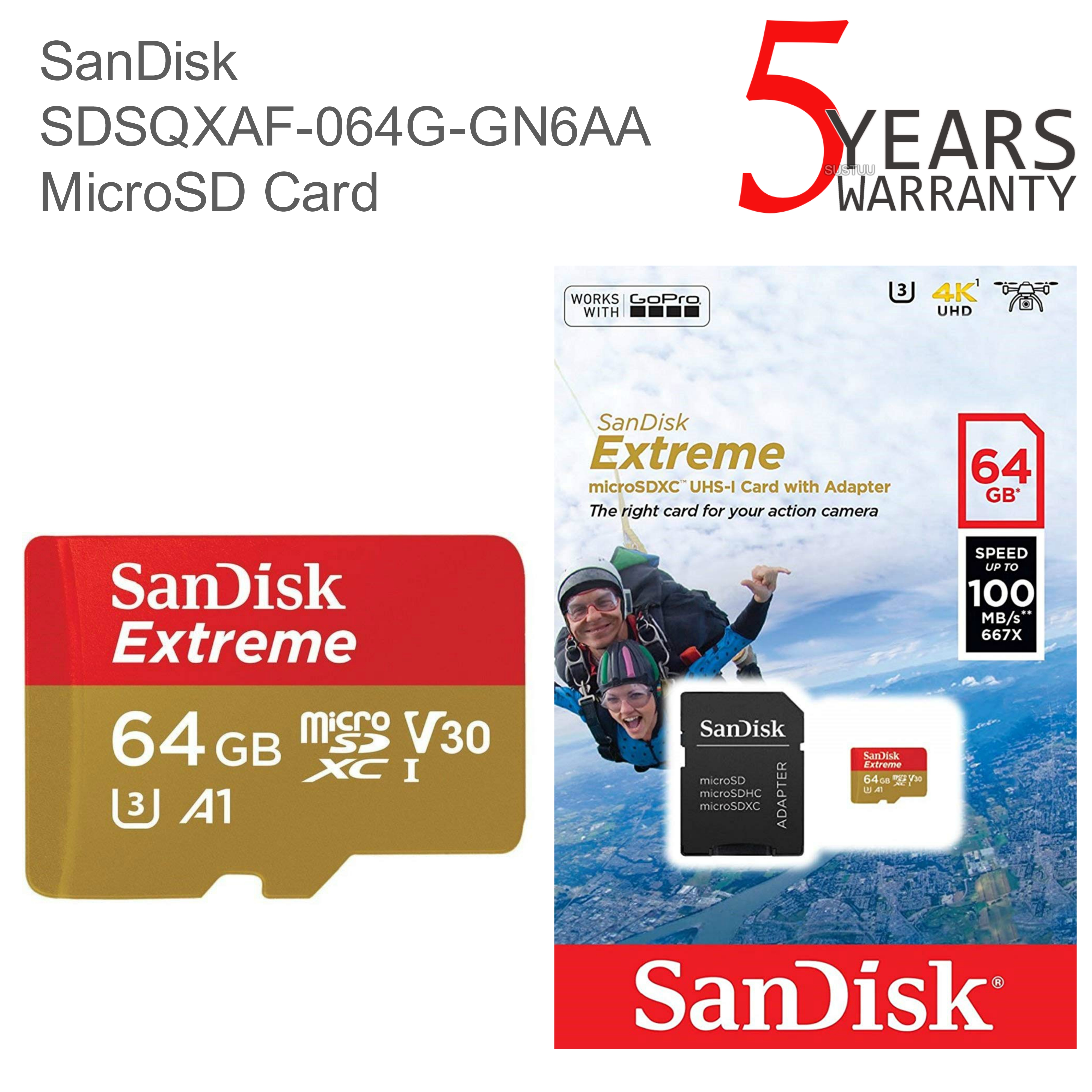 SanDisk 64GB Extreme Micro SDHC Memory Card & Adapter | 100MB/s | For Action Cameras