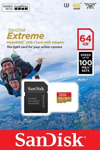 SanDisk 64GB Extreme Micro SDHC Memory Card & Adapter | 100MB/s | For Action Cameras Thumbnail 5