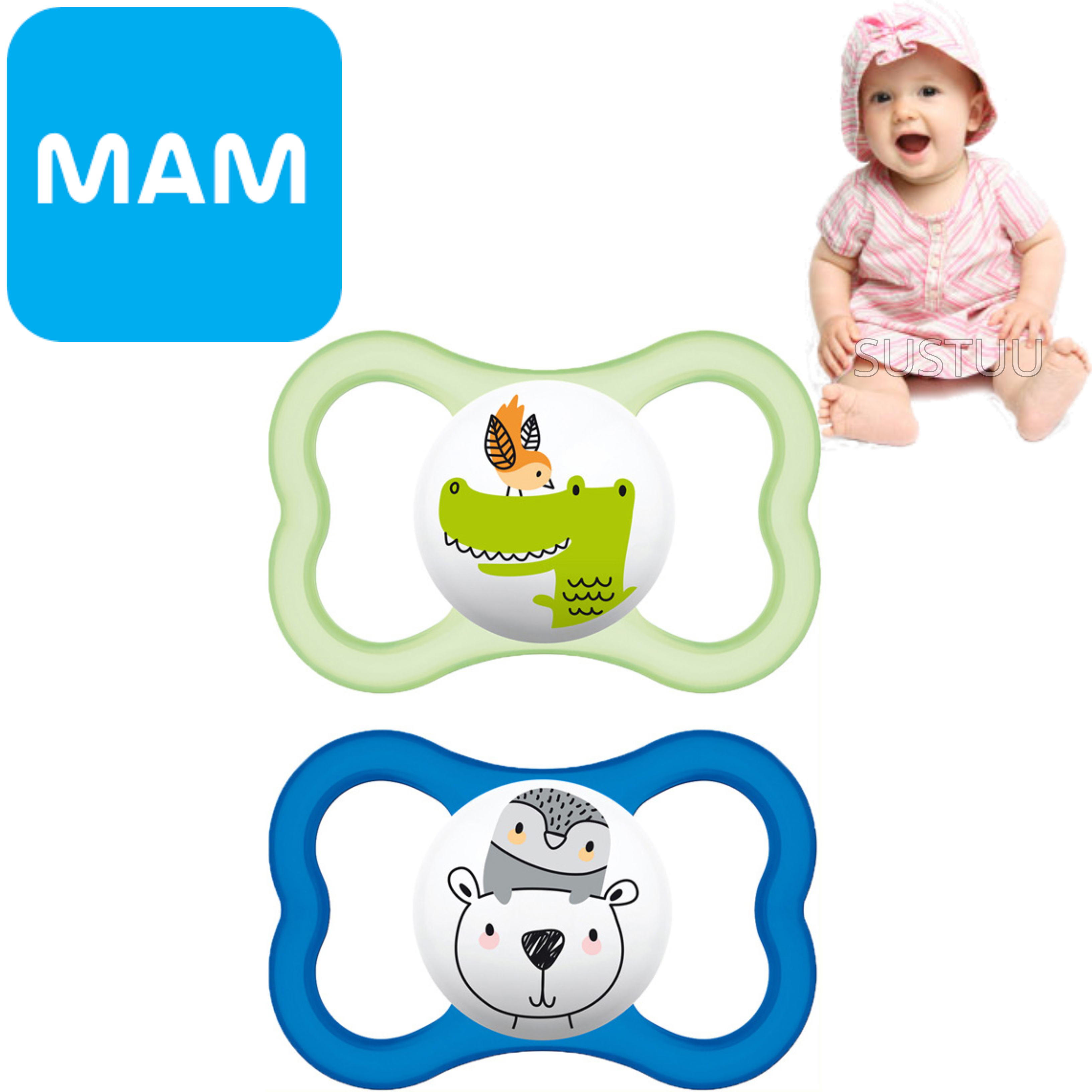 MAM Air Soother | Skin Friendly Dummy | Use Box As Steriliser & Travel Case | +6m | Blue
