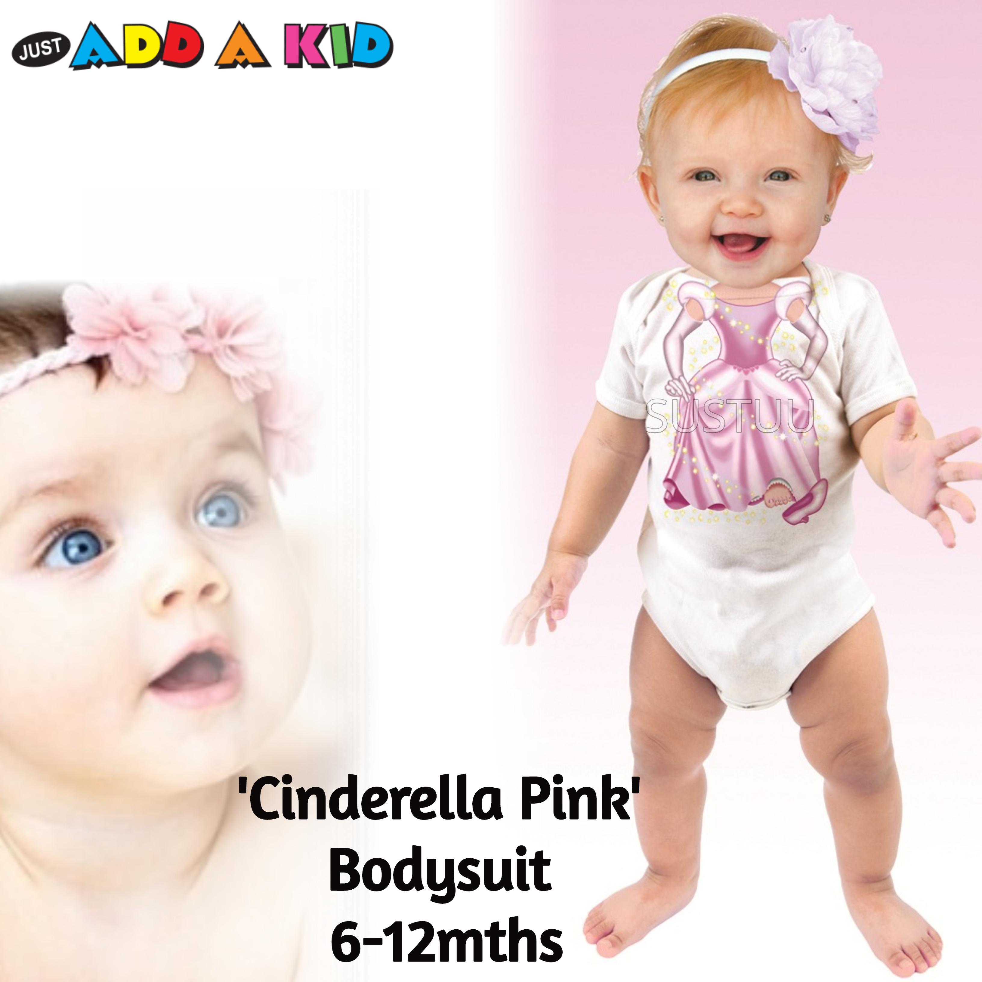 Just Add a Kid 'Cinderella Pink' Baby Short Sleeve Bodysuit | 100% Cotton | 6-12 Month