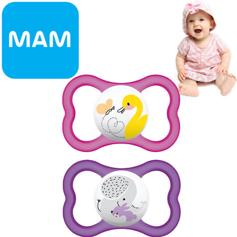 MAM Air Soother | Skin Friendly Dummy | Use Box As Steriliser & Travel Case | +6m | Pink Thumbnail 1