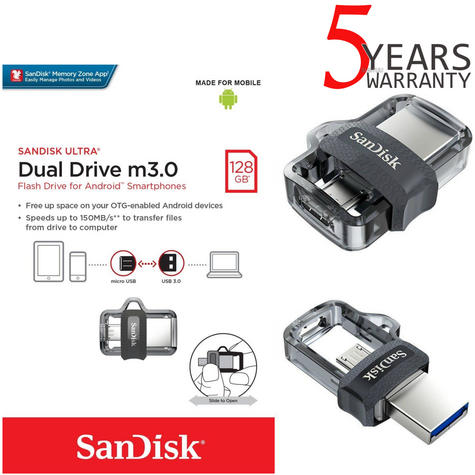 SanDisk 128GB Ultra Dual m3.0 OTG Micro USB Flash Drive/ Memory Stick | For Android Smartphones & Tablets Thumbnail 1