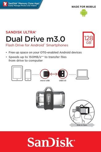 SanDisk 128GB Ultra Dual m3.0 OTG Micro USB Flash Drive/ Memory Stick | For Android Smartphones & Tablets Thumbnail 7