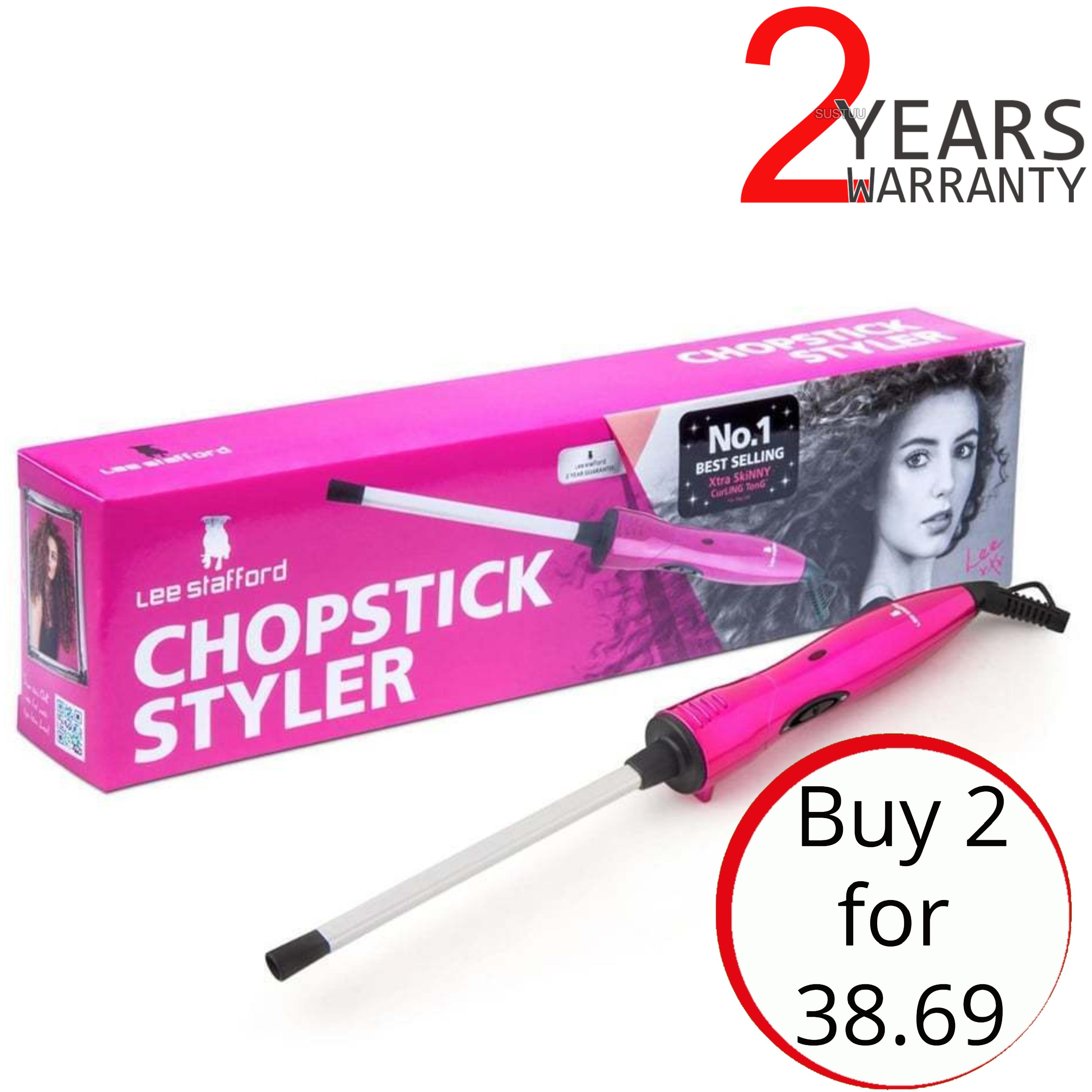 2 x Lee Stafford The Original Chopstick Styler | Ceramic Hair Curler Wand | 200°C | LSHT01