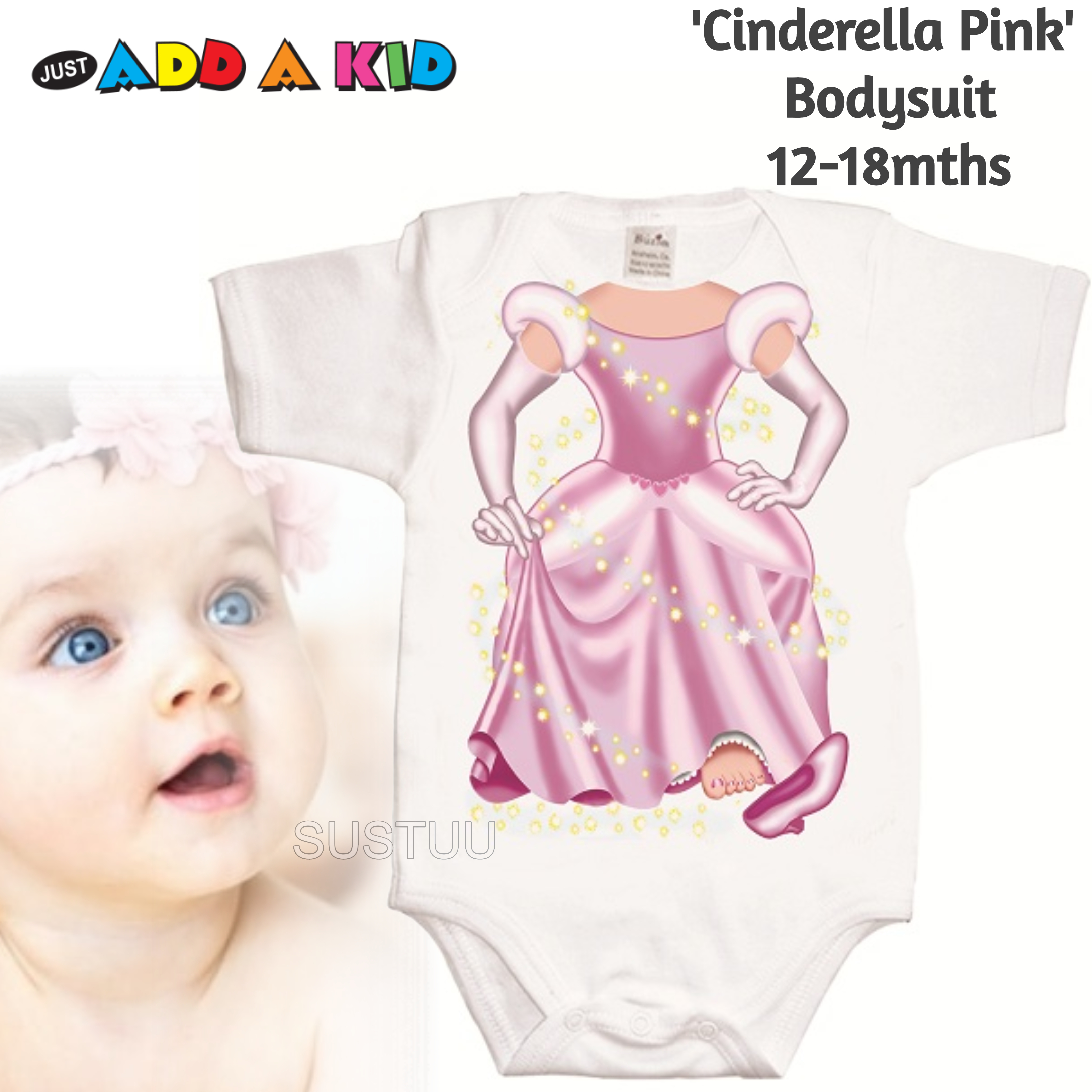 Just Add a Kid 'Cinderella Pink' Baby Short Sleeve Bodysuit | 100% Cotton | 12-18 Month