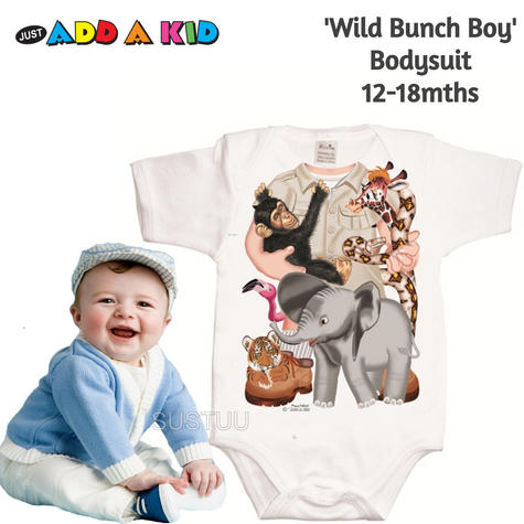 Just Add a Kid 'Wild Bunch Boy' Bodysuit | Super Soft Material | Designer | 12-18mths Thumbnail 1