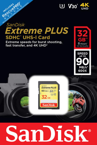 SanDisk Extreme PLUS 32GB SDXC UHS-1 Memory Card | Class 10 U30 V30 | 90 MB/s | For Cameras Thumbnail 4