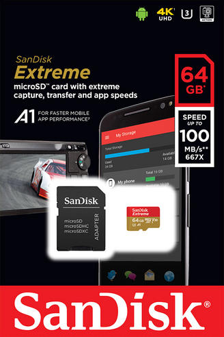 SanDisk 64GB Extreme MicroSDHC Class10 UHS-1 Memory Card & Adapter | 100MB/s | For MIL Camera, Smartphone & Tablet  Thumbnail 4