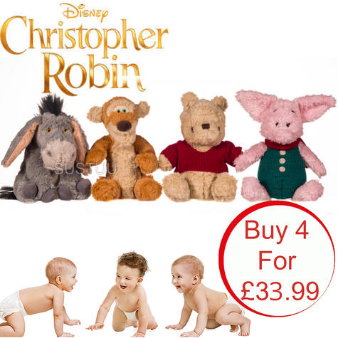 Disney Christopher Robin Movie Character Assortment | Baby/Kids Soft Plush Toy | 18cm | +0 Months Thumbnail 1