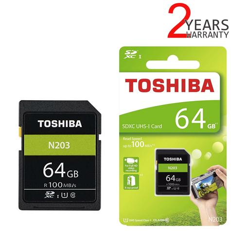 Toshiba 64GB N203 Class 10 Flash Memory Card with Adapter | 100MB/s | For Camera | THN-N203N0640E4 Thumbnail 1