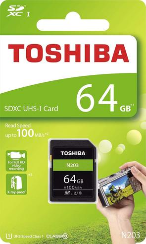 Toshiba 64GB N203 Class 10 Flash Memory Card with Adapter | 100MB/s | For Camera | THN-N203N0640E4 Thumbnail 3