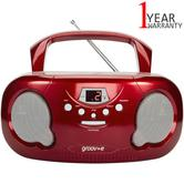 Groov-e Original Boombox Portable CD Player | AM/FM Radio | 3.5mm Aux-In | PS733RD | Red