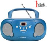 Groov-e Original Boombox Portable CD Player | AM/FM Radio | 3.5mm Aux-In | PS733BE | Blue