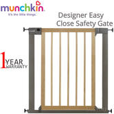 Munchkin Designer Easy Close Safety Gate | Easy To Install | Opening From 76cm-82cm | Extended Upto 117cm