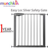 Munchkin Easy Loc Silver Safety Gate | Easily Install | Under 24m | Extend UP To 117cm