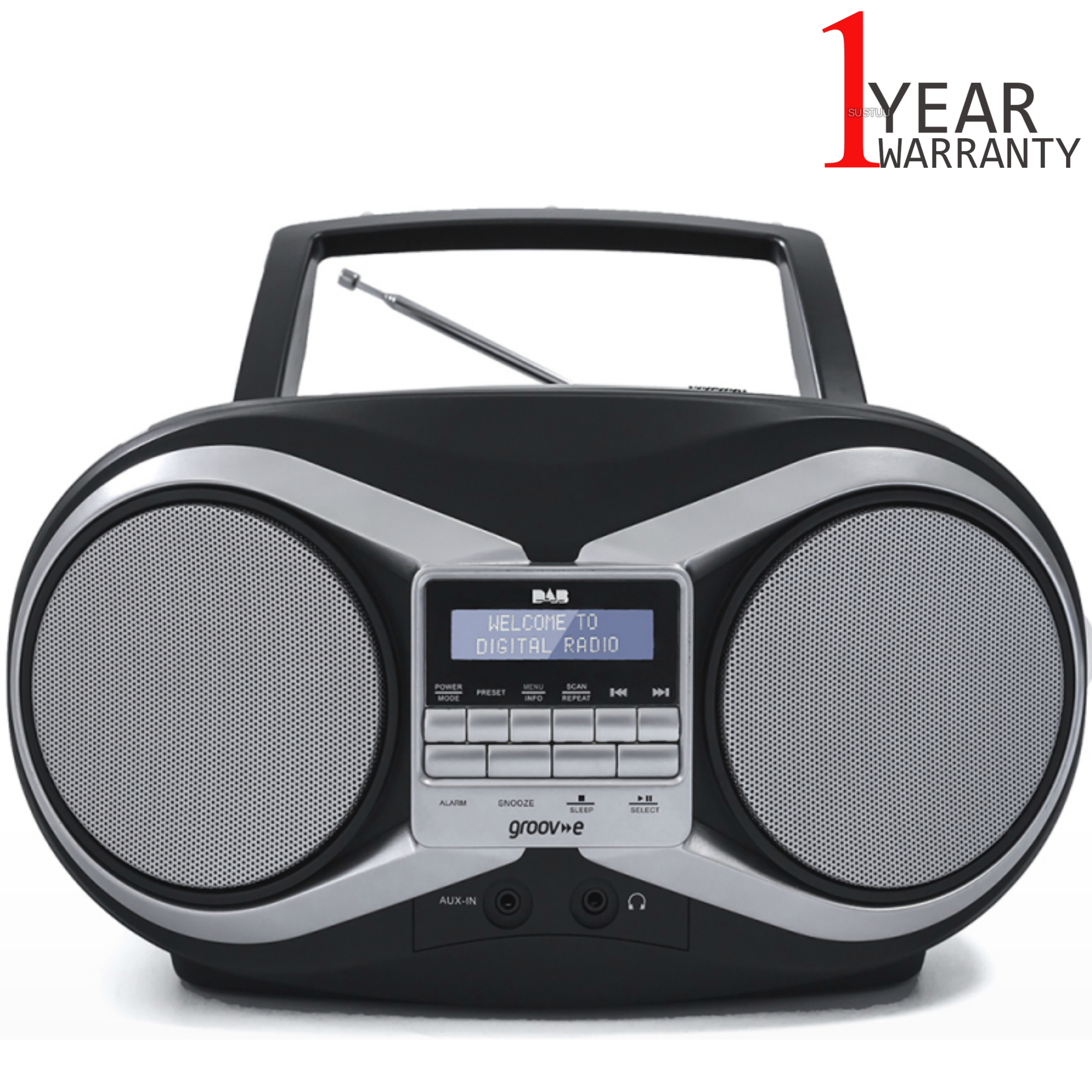 Groov-e Portable Boombox | Portable CD Player | DAB/FM Radio | GVPS753 | LCD Display | Black