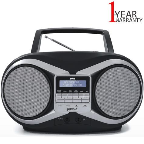 Groov-e Portable Boombox | Portable CD Player | DAB/FM Radio | GVPS753 | LCD Display | Black Thumbnail 1